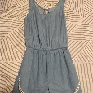 Blue jean romper with detailing